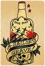 Sailors Grave 1 Pint vintage Sailor Jerry Traditional style Flash poster print
