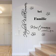 Wandtattoo Herzlich Willkommen bei Familie personalisiert Wunschnamen Wohnzimmer