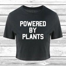 Powered By Plants Crop T-Shirt Cropped Top Fashion Slogan Vegan Vegetarian