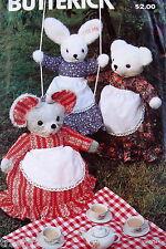 "Vtg 80s pattern MOUSE 21"" bunny rabbit 24"" teddy bear 20"" stuffed animal doll"