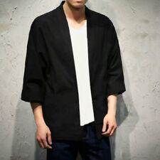 Men Leisurely Kimono Cardigan Noragi Jacket Japanese Yukata Coat Haori Plus Size