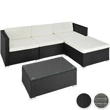 Salotto RATTAN SET 5 PC 3 posti a sedere 1 Sgabello 1 Tavolo Vetro Lounge mobili da giardino