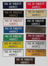 """sticker stop pub """"PAS DE PUBLICITE MERCI"""" format 20x60 mm 15 couleurs"""