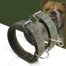 Medium Large Big Pets Dog Collar Green Canvas Neck Strap Adjustable Goode Cattle
