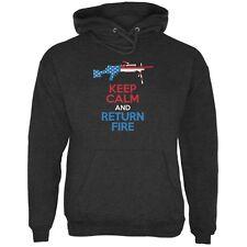 Keep Calm and Return Fire SAW Charcoal Heather Adult Hoodie