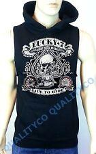 Men's Lucky 7 Skull Biker Black Hoodie Sweatshirt classic harley chopper vest