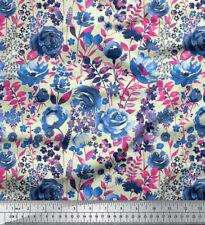 Soimoi 60 Wide Rose Floral Print 2-Way Stretch Velvet Designer Fabric By Metre