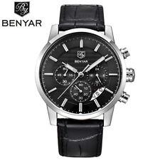 BENYAR 3ATM Water Resistant Date Genuine Leather Band Men Quartz Wrist Watch Box