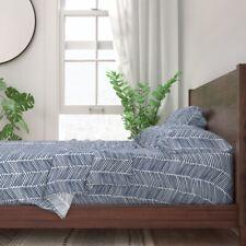 Chevron & Zigzag Arrow Herringbone Navy 100% Cotton Sateen Sheet Set by Roostery