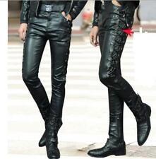 Mens Side Lace Up Motorcycle Biker Rider Vegan Faux Leather kinny Long Pants Z*