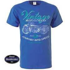 T-Shirt blu reale Vintage HD motivo Biker & oldschool M-XXL Modello Motociclett