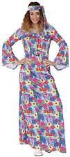 Hippie Flower Power 70er Jahre Kleid lang Karneval Fasching Kostüm 36-54