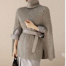 Korean Women's Collared Knitting Sweater Cape Loose Cloak Coat Bat Sleeve D022