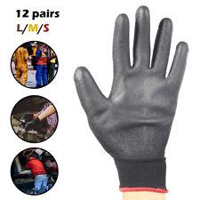12 pares Guantes de trabajo Nylon recubierto PU Uso para Jardín Protección manos