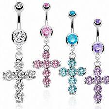 Piercing nombril croix pierres zircon