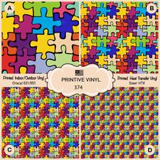 Autism puzzle Pattern Printed HTV, Adhesive Vinyl-  374