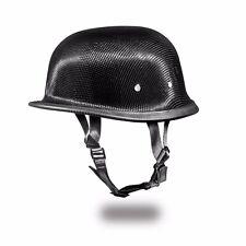 REAL CARBON FIBER German NOVELTY Motorcycle Half Helmet LOW PROFILE -FREE SHIP!