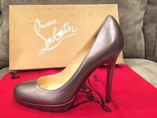 Christian Louboutin NEW SIMPLE PUMP Metallic Platform Heels Shoes Pewter Grey