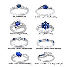 Zafiro Azul Brillante Diamante Sintético Plata de Ley Compromiso Complemento