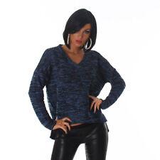 Donna Pullover Maglione Scollo a V Maglia Manica Lunga Taglia Unica Moda Inverno