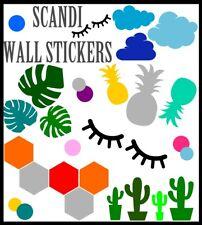 Pared Adhesivo Decoración Hogar Vinilo Scandi Minimalista Calcomanía Cactus Piña nubes
