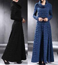 Women's super Turtleneck FULL LENGTH GOWN Maxi Long sleeve Dress New