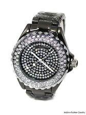 Damen schwarz Designer Party Clubbing Watch CZ Eis Out Lünette Zifferblatt Armband
