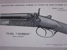 COMPOSITION  20ème FUSIL NEMROD  MANUFACTURE ARMES  CYCLES ST ETIENNE