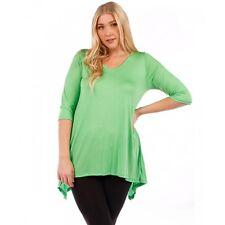 New Women Plus Size Green 3/4 Sleeve Top Blouse Shark Bite Hem Size 2X 4X 5X 6X