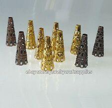 10x Filigree Flower Cone Bead End Caps Large 23mm Tassel Caps Beading Supplies