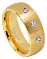 8mm Dome Tungsten Ring, 0.21ctw Tanzanite 3-Stone Ring,November Birthstone #690
