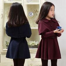 Kids Girls Long Coats Winter Warm Outwear Wind Jacket Trench Cloak Swing Dress