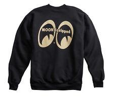 Men's Mooneyes Moon Equipped Beige Logo Black Crew Neck Sweatshirt MQS002BK