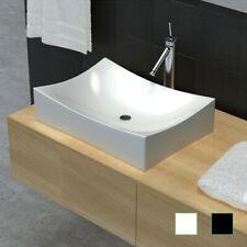 Vasque à poser Lavobo rectangulaire Blanc/Noir en céramique pour salle de bain