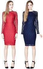 Sugarhill Boutique Jessica Dress 8-16 Dark Red / Navy Lace Fitted Body Con
