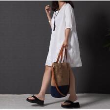 Womens Floral Embroidery Short Sleeve Loose Style Mini Short Dress Sundress LG