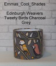 Handmade Lampshade Edinburgh Weavers Tweety Birds Fabric Charcoal Grey 20 30 40
