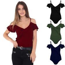 Ladies Off Shoulder Cami Crepe Thin Strap Ruffle Frill Textured Bodysuit Leotard
