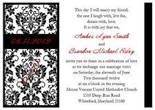 100 Personalized Custom Heart Damask Bridal Wedding Invitations Cards Set