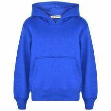 Kids Girls Boys Sweat Shirt Tops Plain Royal Blue Hooded Jumpers Hoodies 2-13 Yr