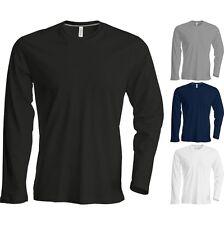 Adult Unisex Men Women Kariban Long Sleeve Crew Neck Slim Fit Cotton TShirt Top