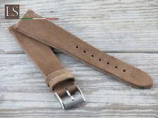 18 19 20 Genuine Italian Cowhide Leather LS SUEDE VACCHETTA Watch Strap Walnut