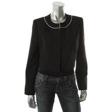 Kasper Black Cropped Long Sleeves Open Front Blazer Jacket - NEW