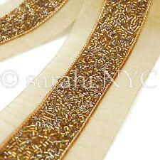 BRONZE COPPER GOLD BEADED FABRIC TRIM trimming,EMBELLISHMENT,costume,pageant,ART
