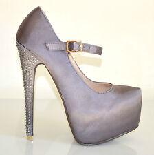Decoltè donna scarpe cinturino tacco alto plateau elegante cristalli argento 20A