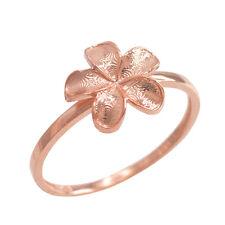 Fine 10k Rose Gold Frangipani Hawaiian Plumeria Rubra Flower Ring
