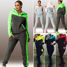 2 pz Donna Felpa Con Cappuccio maglia + Pantaloni da jogging tuta Sportswear UN