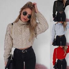 Womens Winter High Collar Sexy Crop Knitted Pullover Sweater Knitwear Jumper HOT