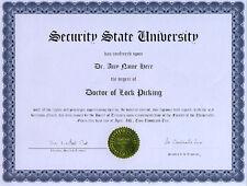 Doctor Lockpicking Diploma Novelty Lock Picks Pick