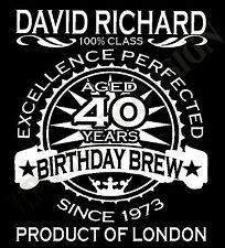 40 Cumpleaños Camiseta Personalizado Añadir Nombre Año Place Edad MUJER Unique
